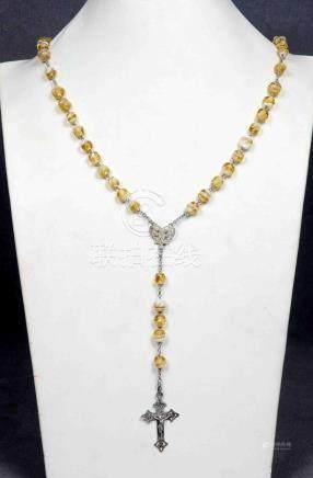 Antiguo rosario de cuentas en cristal de Murano, en amarillo