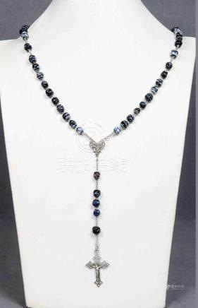 Antiguo rosario de cuentas en cristal de Murano, en azul y p