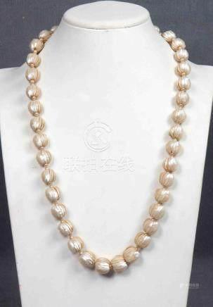 Collar con 39 perlas fileteadas en degradé y 80 perlitas int