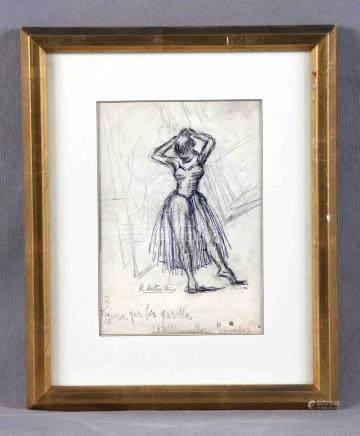 """RIBAS RIUS, RAMÓN (1903-1983). """"Bailarinas"""". Dibujo a lápiz"""