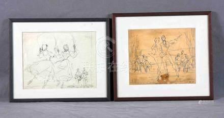 """CLAPERA, PERE (1906-1984). """"Escenas de ballet"""". Dos dibujos"""