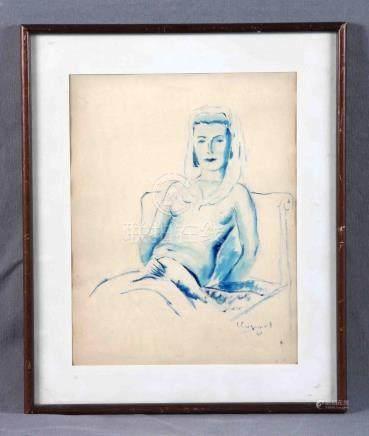 """LLOPART VALLS, ESTEBAN (1925). """"Semidesnudo femenino"""". Dibuj"""