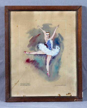 "NOBLOM, ELOÍSA (S.XX). ""Escena de ballet"". Acuarela, de 31x2"