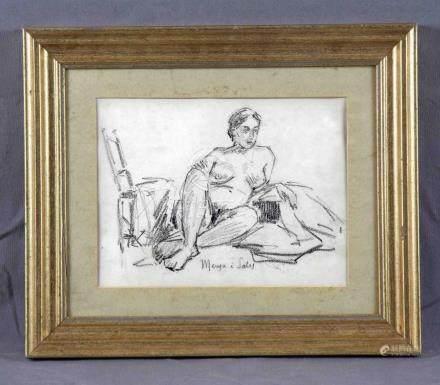 "MENSA I SALES, MANUEL (1875-1938). ""Desnudo femenino"". Dibuj"