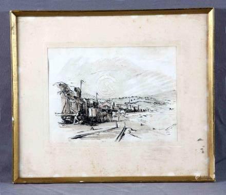 """COMMELERAN, JUAN (1902-1992). """"Visión rural"""". Dibujo acuarel"""