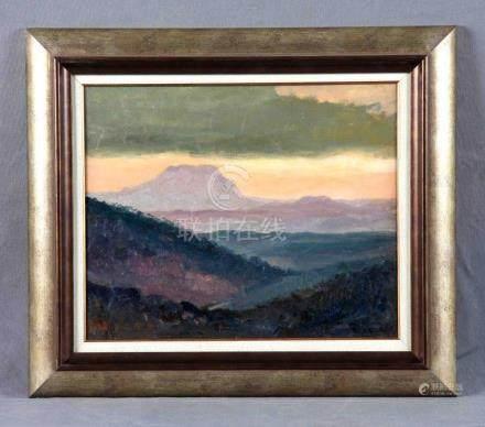 """ROS Y GÜELL, ANTONIO (1873-1954). """"Paisaje montañoso"""". Óleo"""