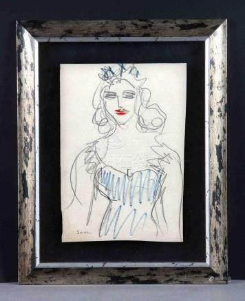 """SMITH, ISMAEL (1886-1972). """"Joven"""". Dibujo a lápiz y ceras p"""