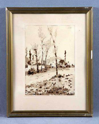 "PUJOL RIPOLL, JOSÉ (1905-1987). ""Paisaje con pueblo"". Dibujo"