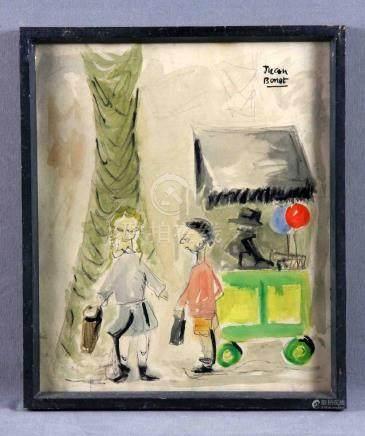 """BONET, JUAN. """"Niños frente al quiosco"""". Dibujo acuarelado, d"""