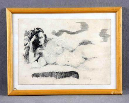"NOBLOM, ELOÍSA (S.XX). ""Desnudo femenino"". Dibujo a carbonci"
