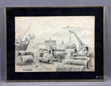 "BORDALLO, MANUEL (1920-1996). ""Industrialización"". Dibujo a"