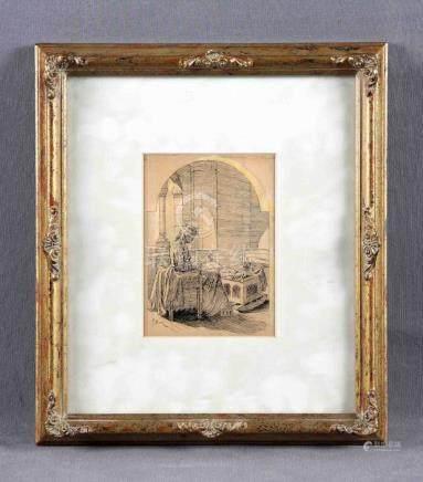 """PELLICER, JOSÉ LUIS (1842-1901). """"Maternidad"""". Dibujo a plum"""
