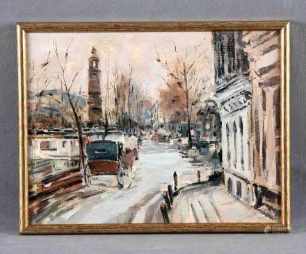 "ESC. FRANCESA. ANÓNIMO. ""Boulevard parisino"". Óleo sobre tab"