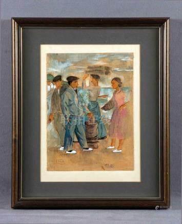 """ARRUE, RAMIRO (1892-1971). """"Pescadores"""". Gouache, de 31x23 c"""