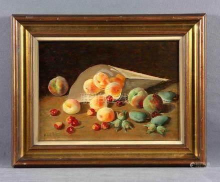 """VIDAL ROLLAND, ANTONIO (1889-1970). """"Frutas"""". Óleo sobre lie"""