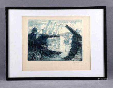 """CASTRO GIL, MANUEL (1891-1961). """"Puerto de Bilbao"""". Grabado."""