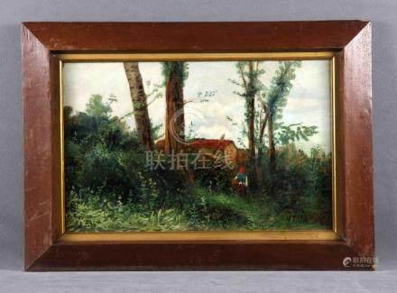 """ARMET, JOSÉ (1843-1911). """"Buscando setas"""". Óleo sobre lienzo"""