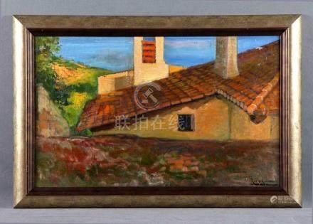 """ROS Y GUELL, ANTONIO (1873-1954). """"Visión rural"""". Óleo sobre"""