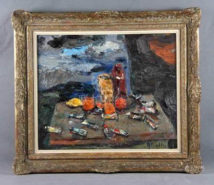 "ABELLÓ PRAT, JUAN (1922-2008). ""Bodegón de artista"". Óleo so"
