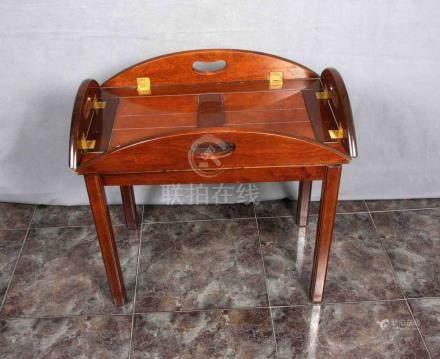Antigua mesa-bandeja tipo barco, en madera maciza, con alas