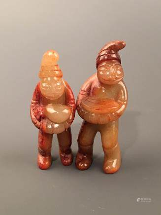Pair Chinese Archaic Jade Figure