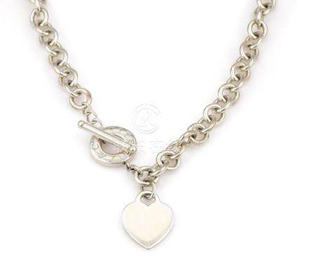 Tiffany & Co Sterling Silver Heart Toggle Necklace