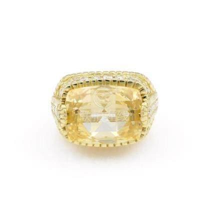 18K Yellow Gold Judith Ripka Yellow Quartz Diamond Ring