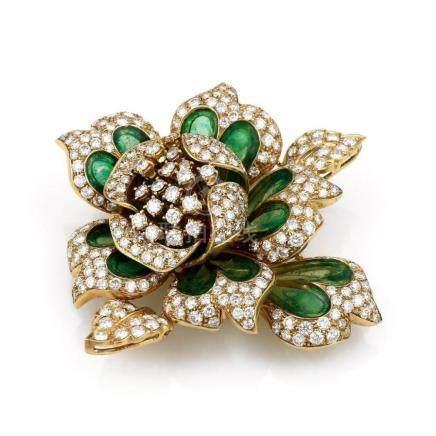 18K Yellow Gold Diamond and Green Glass Flower Brooch