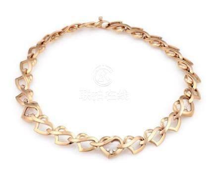 18K Rose Gold Chopard Happy Diamonds Heart Link Necklace