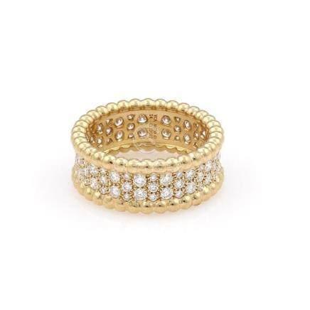 VCA Van Cleef & Arpels 18K Yellow Gold Perlee Diamond Ring