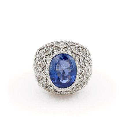 18K White Gold Buccellati Sapphire and Diamond Ring