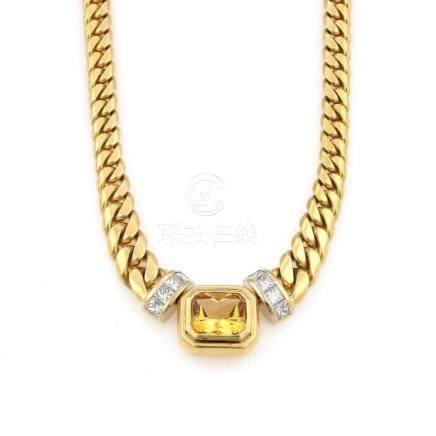 18K YG Greg Drake Citrine Diamond Necklace