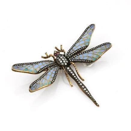 18K Plique a Jour Enamel Dragonfly Brooch
