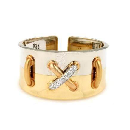 18K Tri Color Gold Diamond Bangle Bracelet