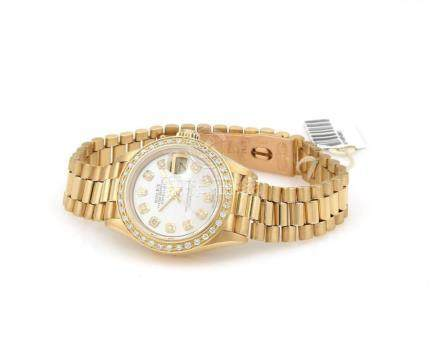 18kt Yellow Gold Rolex Datejust With Diamonds