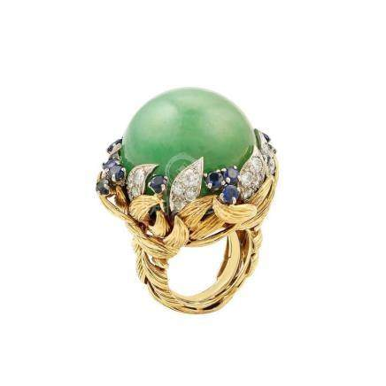 David Webb Jade Cabochon Ring with Sapphires and Diamonds