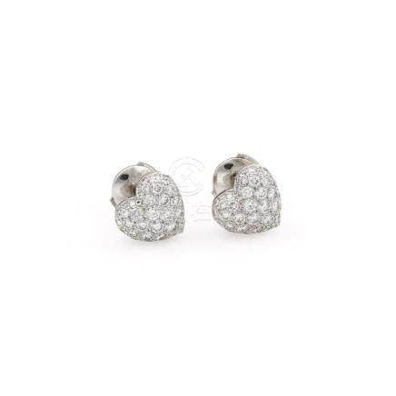 18K White Gold Cartier Pave Diamond Heart Stud Earrings