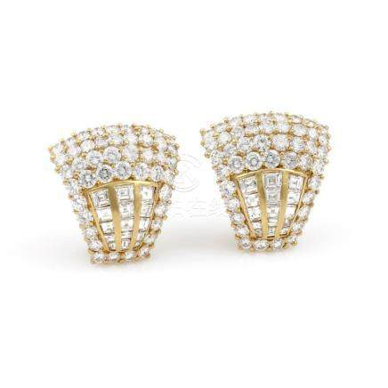 18K Yellow Gold Pave Diamond Clip On Earrings