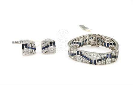 Platinum Sapphire & Diamond Earring Bracelet Set