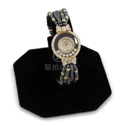 18K YG Chopard Happy Diamonds Hematite Watch