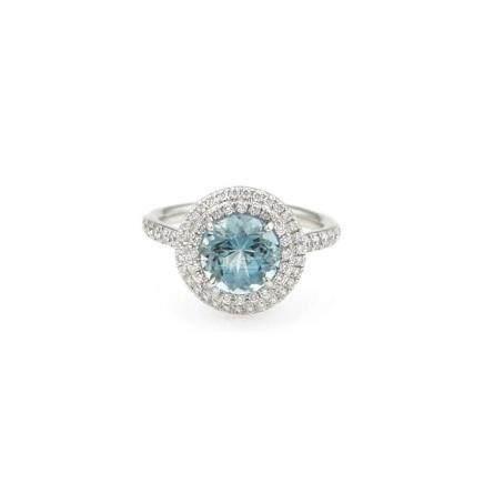 Tiffany & Co. Plat Soleste Aquamarine Diamond Ring