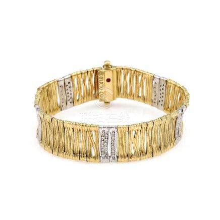 18K 2 Tone Roberto Coin Elephantino Diamond Bracelet