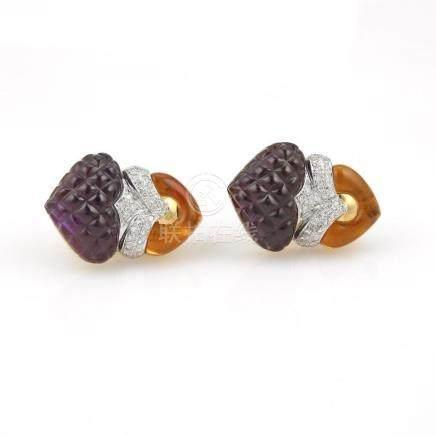 Carved Amethyst & Citrine Gold & Diamond Earrings