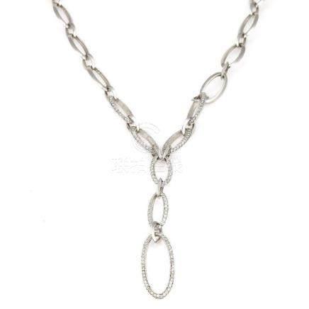 18K White Gold Diamond Oval Link Necklace