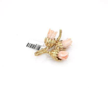14K Yellow Gold Angel Skin Coral Flower Brooch