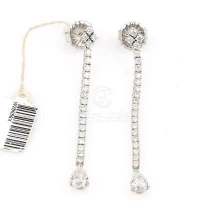 18Kt White Gold Diamond Dangle Earrings