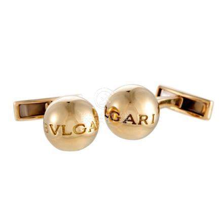 Bvlgari 18K Yellow Gold Ball Logo Cufflinks