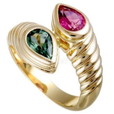 Bvlgari Doppio 18K Yellow Gold Green and Pink Tourmaline Byp