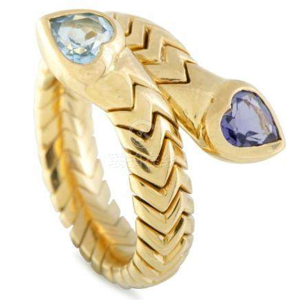 Bvlgari Spiga 18K Yellow Gold Topaz and Iolite Hearts Bypass