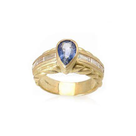 Judith Ripka 18K Yellow Gold Diamond Sapphire Ring